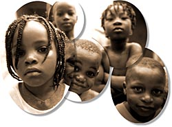 africa, black and white, childrens, horizontal, montage, photograph