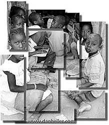 africa, childrens, koran, montage, vertical, photograph