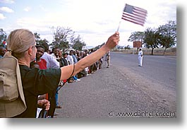 africa, american, arusha, blonds, crowds, flags, horizontal, tanzania, waiving, womens, photograph