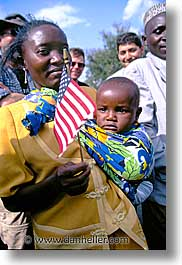 africa, american, arusha, babies, crowds, flags, tanzania, vertical, womens, photograph