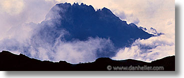 africa, clouds, fog, hikers, hiking, horizontal, kilimanjaro, mountains, panoramic, people, silhouettes, tanzania, photograph