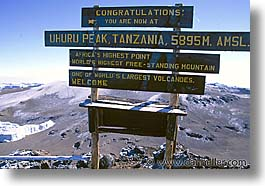 africa, horizontal, kilimanjaro, mountains, signs, tanzania, uhuru, photograph