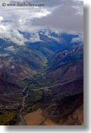 aerial clouds, asia, bhutan, clouds, mountains, valley, vertical, photograph