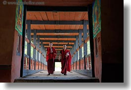 asia, asian, bhutan, bridge, buddhist, clothes, horizontal, monks, religious, robes, style, photograph