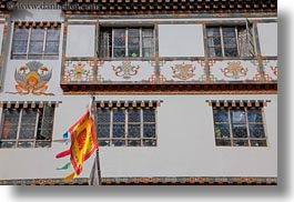 asia, bhutan, buildings, flags, horizontal, photograph
