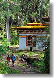 asia, bhutan, buildings, forests, houses, lush, nature, plants, trees, vertical, photograph
