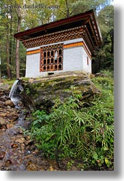 asia, bhutan, buildings, forests, houses, lush, vertical, photograph