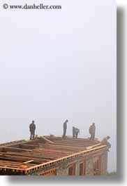 asia, asian, bhutan, buddhist, construction, dochula pass, fog, religious, style, vertical, workers, photograph