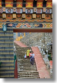 asia, asian, bhutan, buddhist, dochula pass, down, families, religious, stairs, style, vertical, walking, photograph
