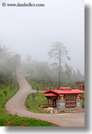 asia, asian, bhutan, buddhist, dochula pass, foggy, religious, roads, style, vertical, photograph