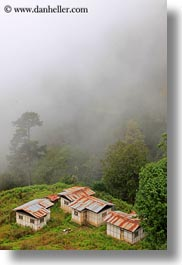 asia, asian, bhutan, buddhist, dochula pass, fog, houses, religious, style, vertical, photograph