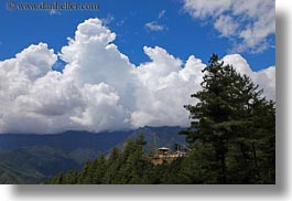 asia, bhutan, clouds, cumulus, fog clouds, horizontal, landscapes, lush, photograph