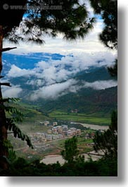 asia, bhutan, fog clouds, foggy, landscapes, valley, vertical, photograph