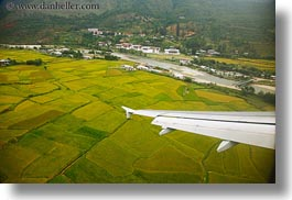 airplane, asia, bhutan, colors, fields, green, horizontal, landscapes, lush, nature, rice, rice fields, wings, photograph