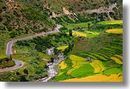 asia, bhutan, cars, colors, fields, green, horizontal, landscapes, lush, nature, rice, rice fields, rivers, photograph