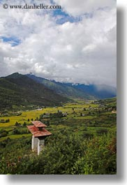asia, asian, bhutan, buddhist, clouds, colors, gates, green, landscapes, nature, religious, sky, valley, vertical, photograph