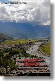 asia, bhutan, chilis, clouds, colors, green, landscapes, nature, rivers, roofs, sky, valley, vertical, photograph