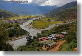 asia, bhutan, colors, green, horizontal, landscapes, rivers, valley, photograph