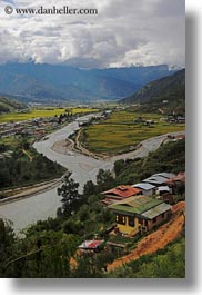 asia, bhutan, clouds, colors, green, landscapes, nature, rivers, sky, valley, vertical, photograph