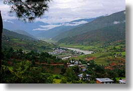asia, bhutan, clouds, colors, green, horizontal, landscapes, nature, rivers, sky, valley, photograph