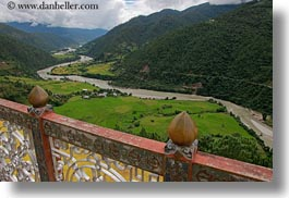 asia, balconies, bhutan, buddhist, clouds, colors, from, green, horizontal, landscapes, nature, religious, rivers, sky, valley, photograph