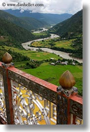 asia, balconies, bhutan, buddhist, clouds, colors, from, green, landscapes, nature, religious, rivers, sky, valley, vertical, photograph