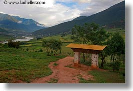 asia, bhutan, bhutanese, buddhist, clouds, gates, horizontal, landscapes, lobeysa village, nature, religious, sky, photograph