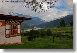 asia, bhutan, bhutanese, buddhist, clouds, horizontal, houses, lobeysa village, nature, religious, sky, valley, photograph
