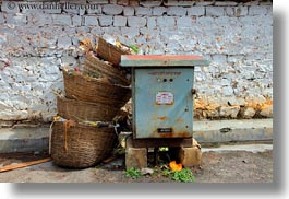 asia, baskets, bhutan, electric, horizontal, leaning, meters, photograph