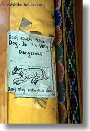 asia, beware, bhutan, dogs, signs, vertical, photograph