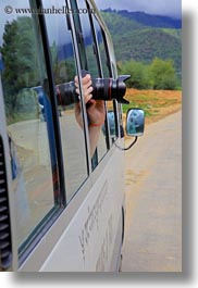 asia, bhutan, bus, cameras, out, vertical, windows, photograph