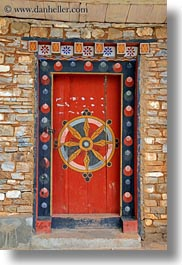 asia, asian, bhutan, buddhist, doors, ornate, religious, style, vertical, photograph