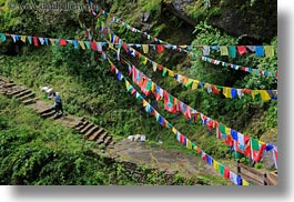 asia, bhutan, buddhist, flags, green, hikers, hiking, horizontal, lush, people, prayer flags, religious, photograph
