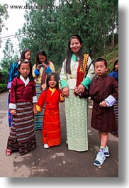 asia, asian, bhutan, childrens, clothes, costumes, dressed, emotions, mothers, people, smiles, style, vertical, photograph
