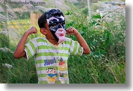 asia, asian, bhutan, boys, childrens, horizontal, lobeysa, masks, people, photograph