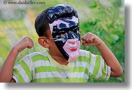 asia, asian, bhutan, boys, childrens, clothes, costumes, horizontal, lobeysa, masks, people, photograph