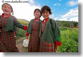 asia, asian, bhutan, childrens, clothes, costumes, emotions, girls, horizontal, lobeysa, people, smiles, style, photograph