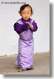 asia, asian, bhutan, childrens, clothes, costumes, girls, people, purple, style, toddlers, vertical, photograph