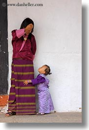 asia, asian, bhutan, childrens, clothes, costumes, girls, mothers, people, purple, style, toddlers, vertical, photograph