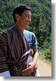 asia, asian, bhutan, bhutanese, clothes, emotions, gho, men, people, robes, smiles, style, traditional, vertical, photograph