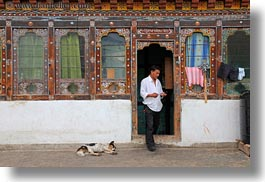 asia, asian, bhutan, dogs, horizontal, houses, men, people, style, photograph
