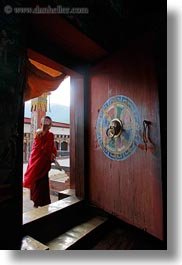 asia, asian, bhutan, boys, buddhist, clothes, doors, men, monks, people, religious, robes, style, vertical, photograph