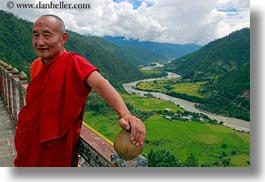 asia, asian, bhutan, buddhist, clothes, colors, emotions, horizontal, landscapes, men, monks, people, red, religious, rivers, robes, smiles, style, photograph
