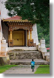 asia, asian, bhutan, buddhist, childrens, dzong, people, punakha dzong, religious, temples, vertical, walking, photograph