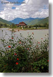 asia, asian, bhutan, buddhist, clouds, dzong, flowers, nature, people, punakha dzong, religious, sky, temples, vertical, photograph