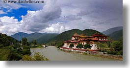 asia, asian, bhutan, buddhist, clouds, dzong, horizontal, nature, panoramic, people, punakha dzong, religious, rivers, sky, temples, photograph