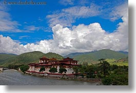 asia, asian, bhutan, buddhist, clouds, dzong, horizontal, nature, people, punakha dzong, religious, rivers, sky, temples, photograph