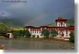 asia, asian, bhutan, buddhist, dzong, horizontal, people, punakha dzong, rainbow, religious, temples, photograph
