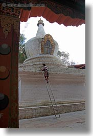 asia, asian, bhutan, buddhist, ladder, men, people, punakha dzong, religious, temples, vertical, photograph