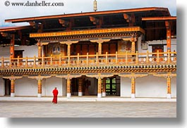asia, asian, bhutan, buddhist, clothes, courtyard, horizontal, monks, people, punakha dzong, religious, robes, temples, walkng, photograph